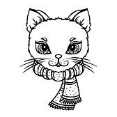 23406495-chat-avec-une-charpe-isol-en-noir-et-blanc--illustration